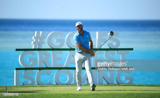 Dustin Johnson of the USA plays his tee shot on the 17th hole during Day Four of the Saudi International powered by SoftBank Investment Advisers at...