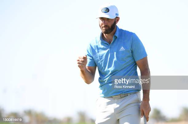 Dustin Johnson of the USA reacts on the 18th green during Day Four of the Saudi International powered by SoftBank Investment Advisers at Royal Greens...