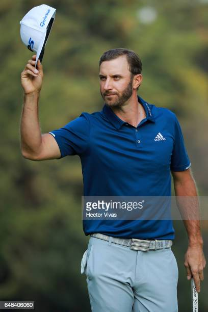 Dustin Johnson of United States celebrates after winning the tournament during the final round of the World Golf Championships Mexico Championship at...