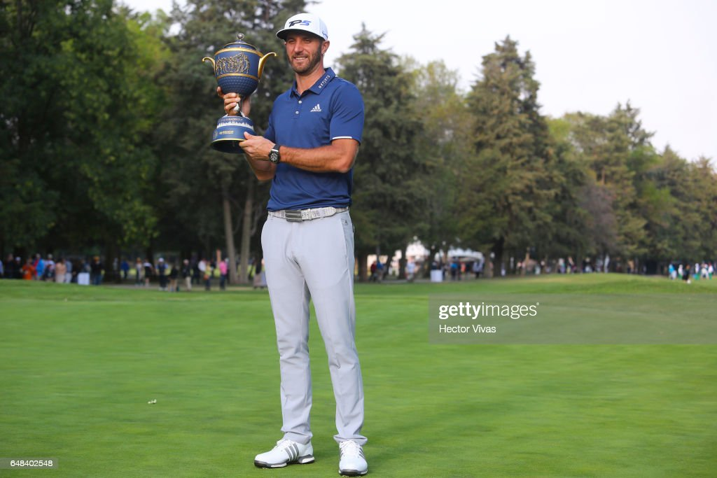 Dustin Johnson of United States holds the trophy during the final round of the World Golf Championships Mexico Championship at Club De Golf Chapultepec on March 05, 2017 in Mexico City, Mexico.
