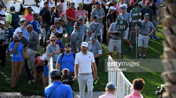Dustin Johnson on the par five 18th hole during the third round of the Saudi International at the Royal Greens Golf Country Club on February 02 2019...
