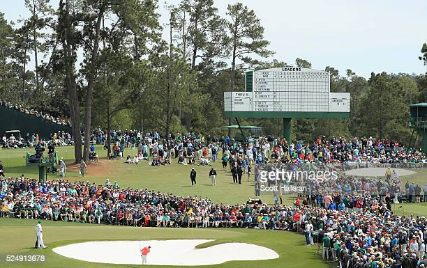 Dustin Johnson plays a bunker shot on the second hole during the final round of the 2016 Masters Tournament at the Augusta National Golf Club on...