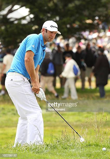 Dustin Johnson plays a shot lefthanded on the second hole during the final round of the 110th US Open at Pebble Beach Golf Links on June 20 2010 in...