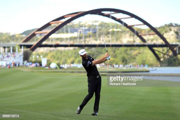 Dustin Johnson plays a shot on the 13th hole of his match during round one of the World Golf ChampionshipsDell Technologies Match Play at the Austin...