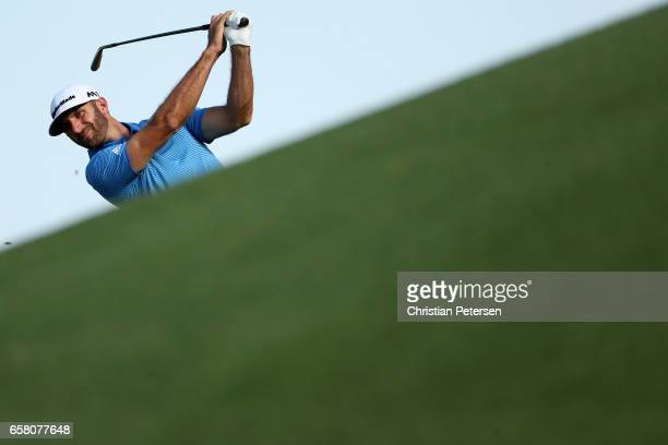 Dustin Johnson plays a shot on the 18th hole during the final match of the World Golf Championships-Dell Technologies Match Play at the Austin...