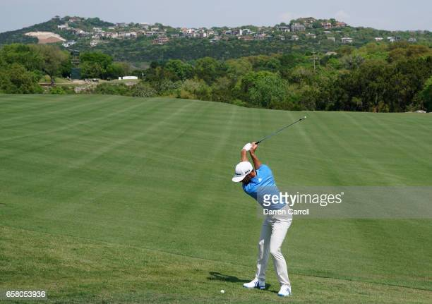 Dustin Johnson plays a shot on the 2nd hole during the final match of the World Golf Championships-Dell Technologies Match Play at the Austin Country...
