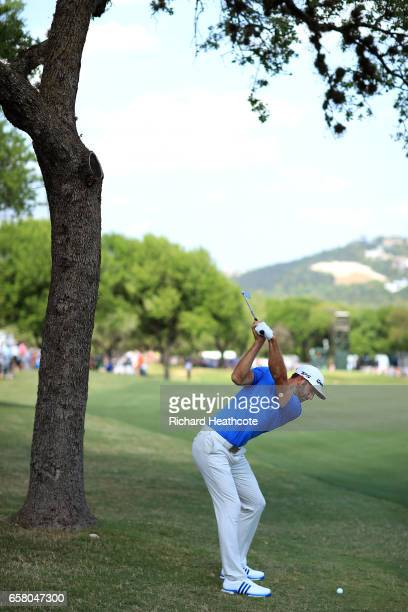 Dustin Johnson plays a shot on the 6th hole during the final match of the World Golf Championships-Dell Technologies Match Play at the Austin Country...