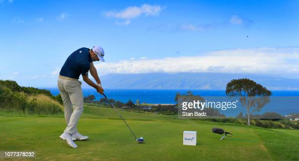 Dustin Johnson plays a tee shot on the eighth hole during the second round of the Sentry Tournament of Champions at Plantation Course at Kapalua on...