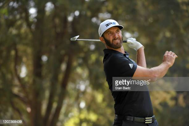 Dustin Johnson plays a tee shot on the sixth hole during the second round of the World Golf Championships-Mexico Championship at Club de Golf...