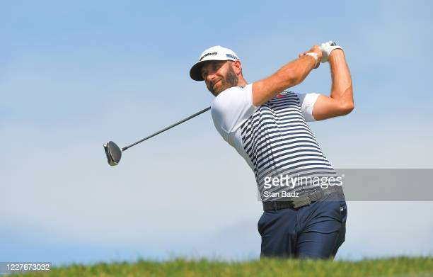 Dustin Johnson plays a tee shot on the tenth hole during the second round of the Memorial Tournament presented by Nationwide at Muirfield Village...