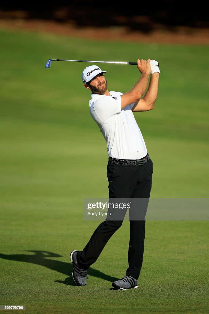 Dustin Johnson plays his second shot on the tenth hole during the second round of the FedEx St. Jude Classic at at TPC Southwind on June 8, 2018 in Memphis, Tennessee.