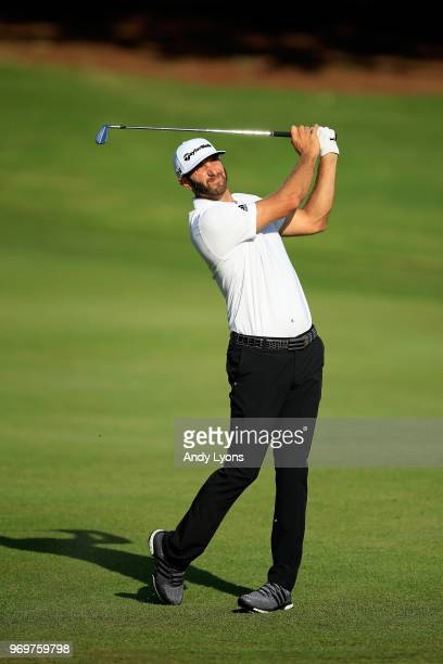 Dustin Johnson plays his second shot on the tenth hole during the second round of the FedEx St. Jude Classic at at TPC Southwind on June 8, 2018 in...