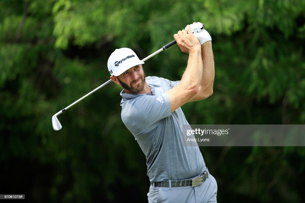 Dustin Johnson plays his shot from the 12th tee during the third round of the FedEx St. Jude Classic at TPC Southwind on June 9, 2018 in Memphis, Tennessee.