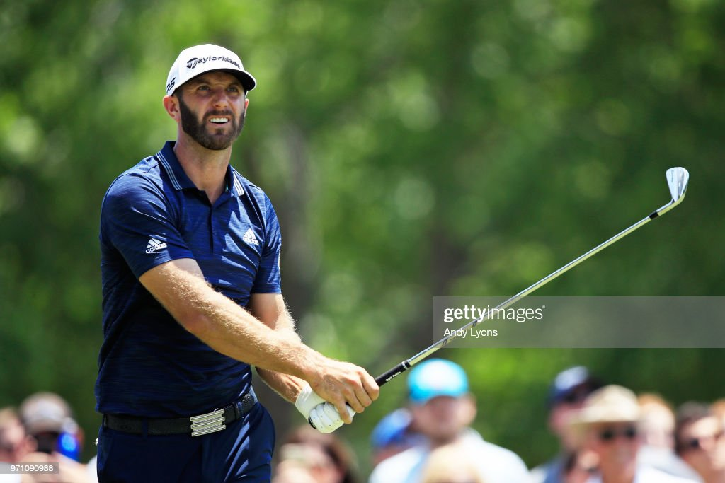 Dustin Johnson plays his shot from the second tee during the final round of the FedEx St. Jude Classic at TPC Southwind on June 10, 2018 in Memphis, Tennessee.