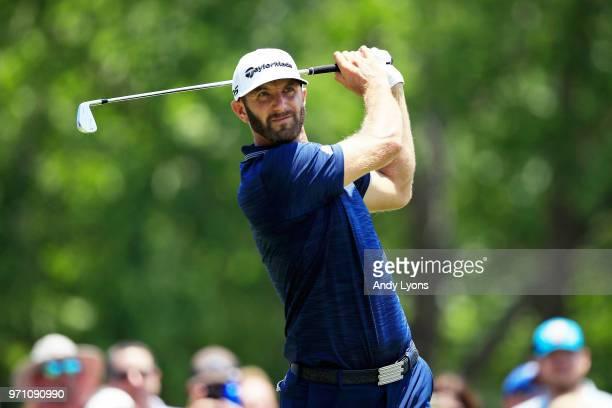 Dustin Johnson plays his shot from the second tee during the final round of the FedEx St. Jude Classic at TPC Southwind on June 10, 2018 in Memphis,...