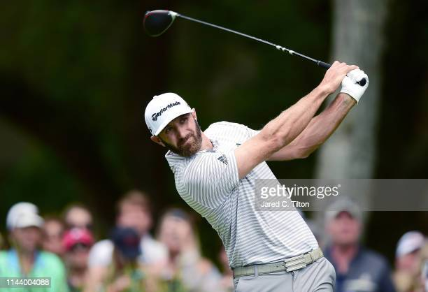Dustin Johnson plays his shot from the second tee during the third round of the 2019 RBC Heritage at Harbour Town Golf Links on April 20 2019 in...