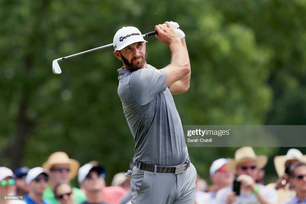 Dustin Johnson plays his shot from the second tee during the third round of the FedEx St. Jude Classic at TPC Southwind on June 9, 2018 in Memphis, Tennessee.