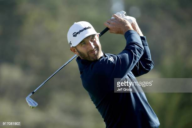Dustin Johnson plays his shot from the third tee during the Final Round of the ATT Pebble Beach ProAm at Pebble Beach Golf Links on February 11 2018...