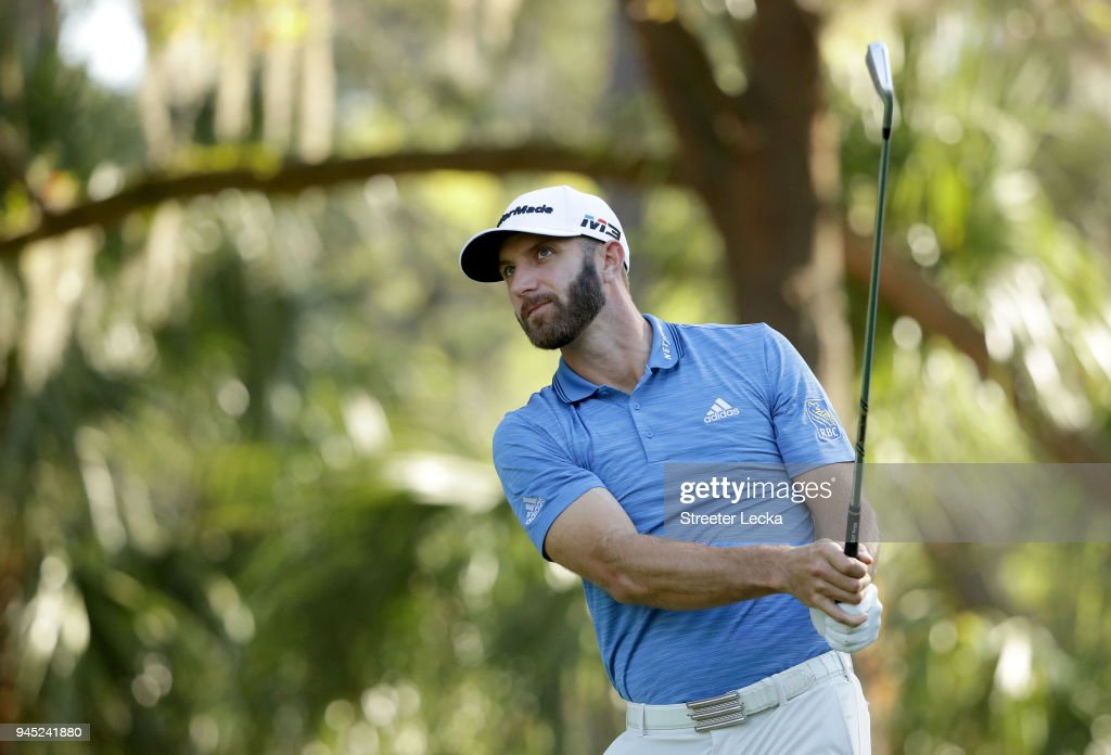 Dustin Johnson plays his tee shot on the 13th hole during the first round of the 2018 RBC Heritage at Harbour Town Golf Links on April 12, 2018 in Hilton Head Island, South Carolina.