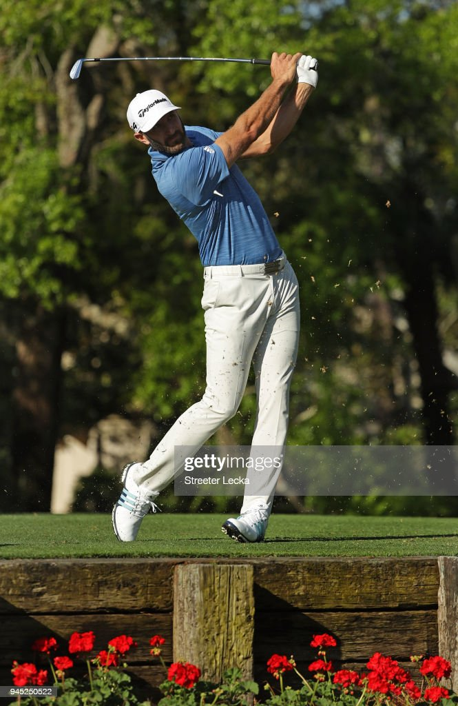 Dustin Johnson plays his tee shot on the 14th hole during the first round of the 2018 RBC Heritage at Harbour Town Golf Links on April 12, 2018 in Hilton Head Island, South Carolina.