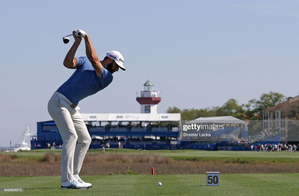 Dustin Johnson plays his tee shot on the 18th hole during the first round of the 2018 RBC Heritage at Harbour Town Golf Links on April 12, 2018 in Hilton Head Island, South Carolina.