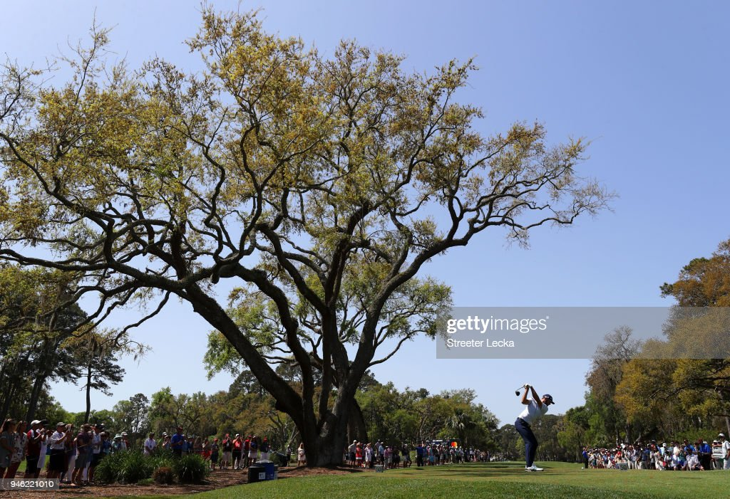 Dustin Johnson plays his tee shot on the third hole during the third round of the 2018 RBC Heritage at Harbour Town Golf Links on April 14, 2018 in Hilton Head Island, South Carolina.