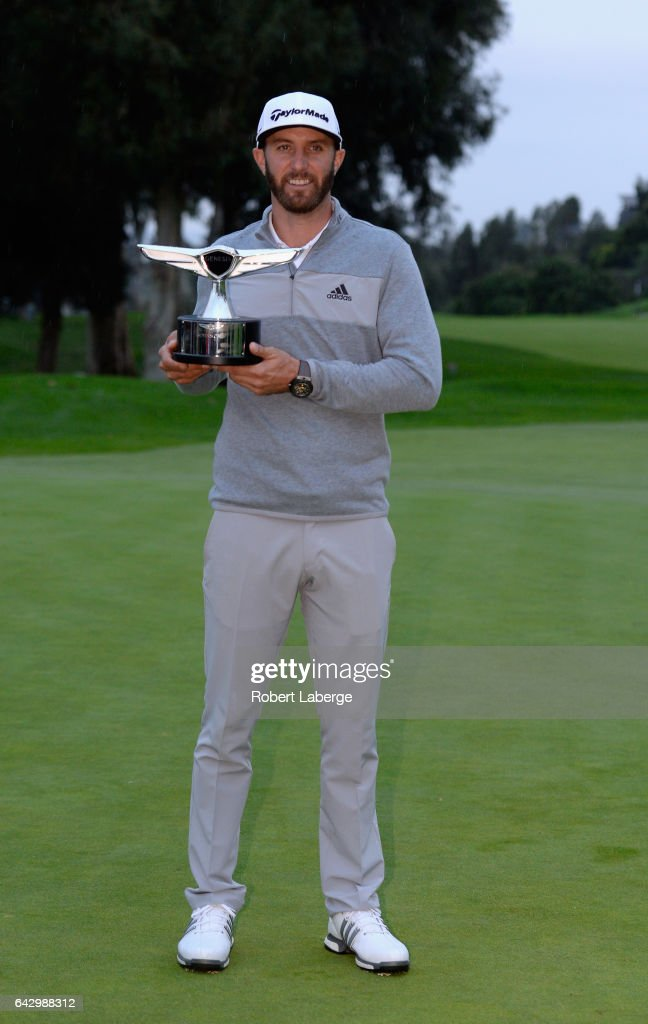 Dustin Johnson poses with the trophy during the final round at the Genesis Open at Riviera Country Club on February 19, 2017 in Pacific Palisades, California.