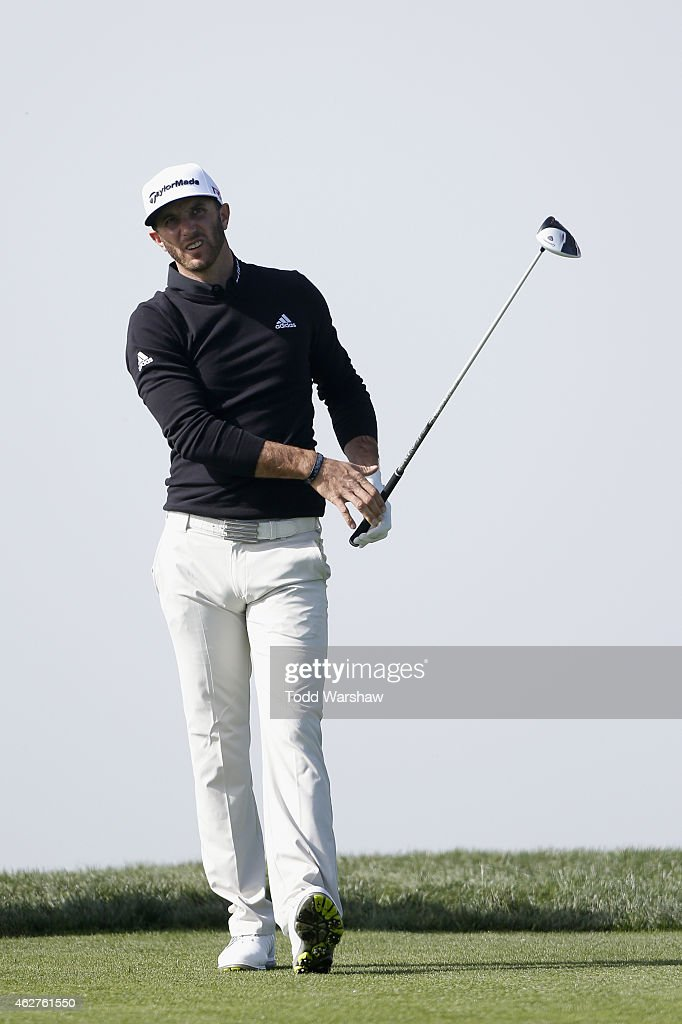 Dustin Johnson prepares to tee off the second hole of the North Course during the Farmers Insurance Open Pro Am at Torrey Pines Golf Course on February 4, 2015 in San Diego, California.