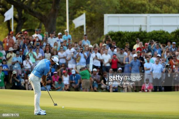 Dustin Johnson putts on the 18th hole during the final match of the World Golf Championships-Dell Technologies Match Play at the Austin Country Club...