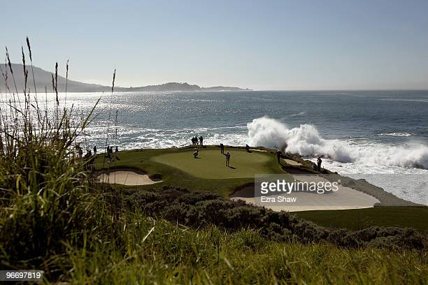 Dustin Johnson putts on the seventh hole during the final round of the ATT Pebble Beach National ProAm at Pebble Beach Golf Links on February 14 2010...