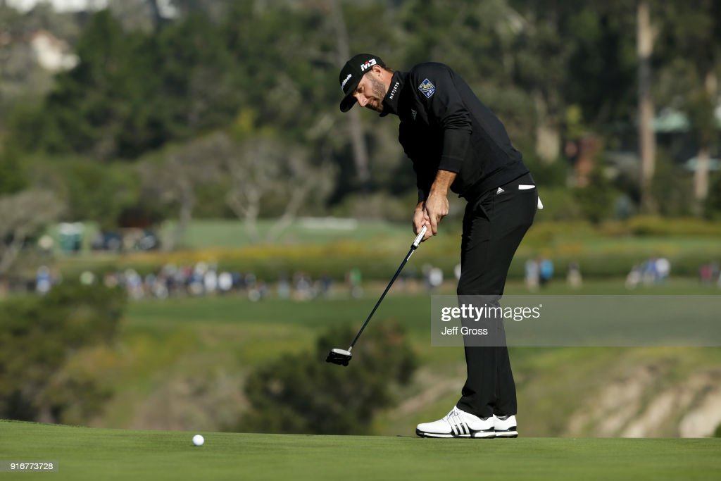 Dustin Johnson putts on the sixth green during Round Three of the AT&T Pebble Beach Pro-Am at Pebble Beach Golf Links on February 10, 2018 in Pebble Beach, California.