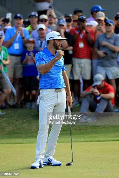 Dustin Johnson reacts after winning the final match of the World Golf ChampionshipsDell Technologies Match Play over Jon Rahm of Spain 1 up on the...