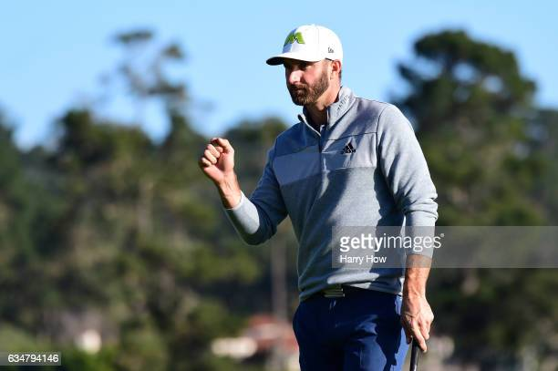 Dustin Johnson reacts to a birdie on the 14th green during Round Three of the ATT Pebble Beach ProAm at Pebble Beach Golf Links on February 11 2017...