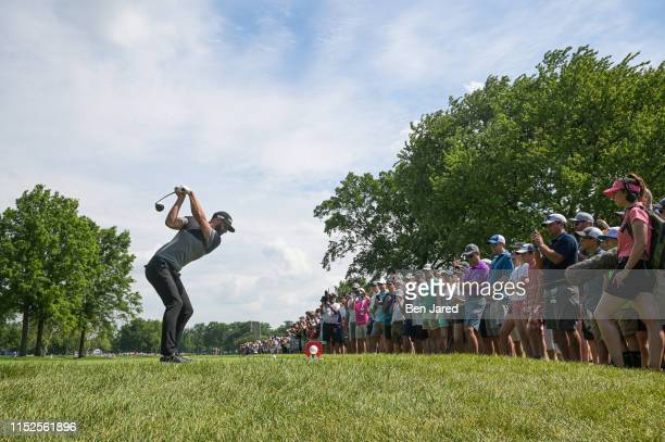 Dustin Johnson swings on the fourth tee box during the second round of the Rocket Mortgage Classic at Detroit Golf Club on June 28, 2019 in Detroit,...
