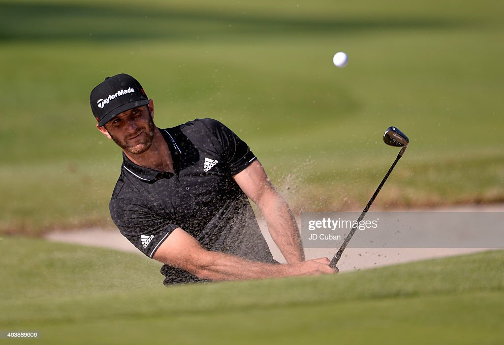 Dustin Johnson takes his second shot on the 10th hole during round one of the Northern Trust Open at Riviera Country Club on February 19, 2015 in Pacific Palisades, California.
