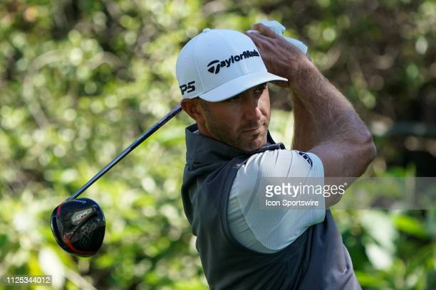 Dustin Johnson teeing off during the second round of Genesis Open on February 16 at Riviera Country Club in Pacific Palisades CA