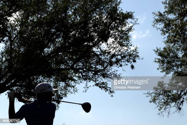 Dustin Johnson tees off on the 12th hole during the final match of the World Golf Championships-Dell Technologies Match Play at the Austin Country...