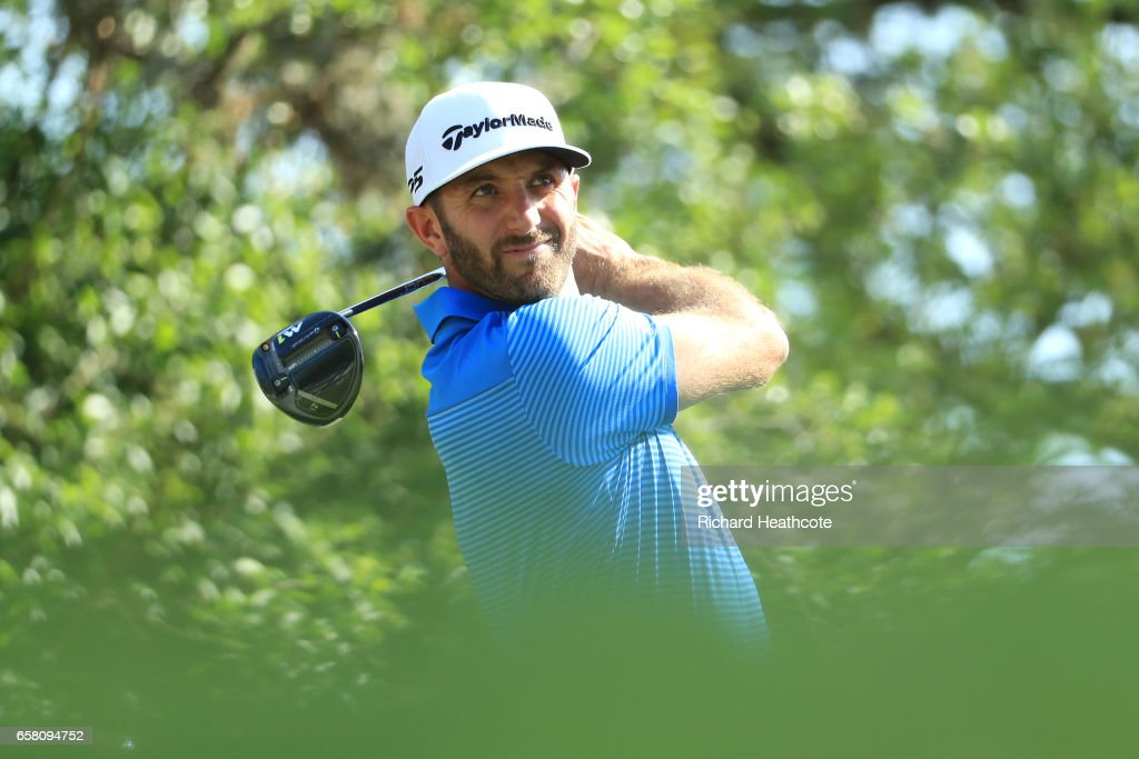 Dustin Johnson tees off on the 12th hole during the final match of the World Golf Championships-Dell Technologies Match Play at the Austin Country Club on March 26, 2017 in Austin, Texas.