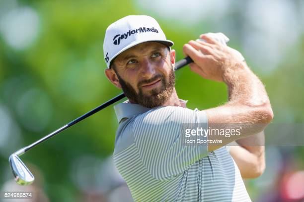Dustin Johnson tees off on the 9th hole during final round action of the RBC Canadian Open on July 30 at Glen Abbey Golf Club in Oakville ON Canada