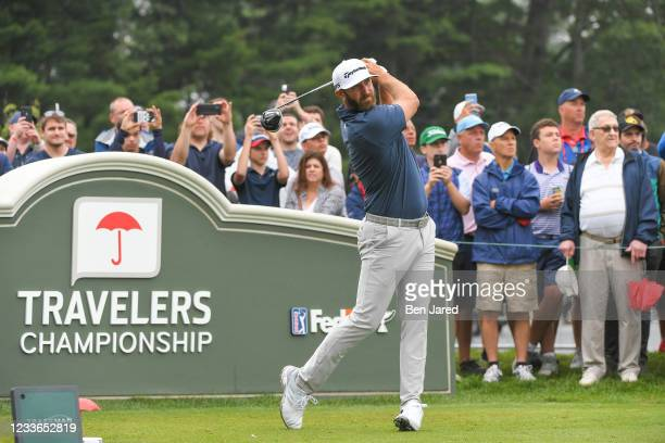 Dustin Johnson tees off on the first hole during the second round of the Travelers Championship at TPC River Highlands on June 25, 2021 in Cromwell,...