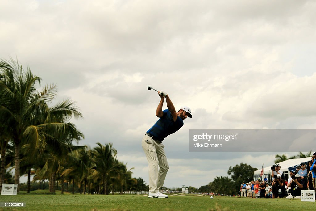 Dustin Johnson tees off on the second hole during the third round of the World Golf Championships-Cadillac Championship at Trump National Doral Blue Monster Course on March 5, 2016 in Doral, Florida.