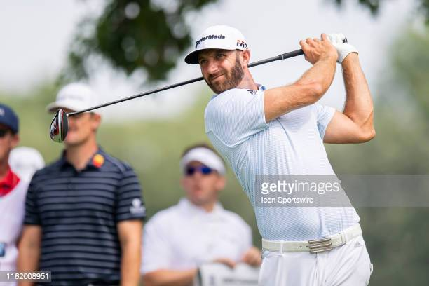 Dustin Johnson tees off on the third hole during the Second Round of the BMW Championship on August 16 at Medinah Country Club, in Medinah, IL.