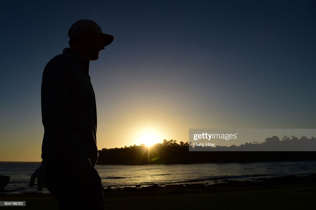 Dustin Johnson walks on the 18th hole during Round Three of the AT&T Pebble Beach Pro-Am at Pebble Beach Golf Links on February 11, 2017 in Pebble Beach, California.