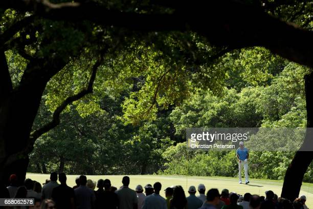 Dustin Johnson walks on the 9th hole during the final match of the World Golf Championships-Dell Technologies Match Play at the Austin Country Club...
