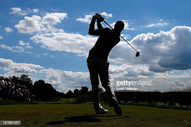 Dustin Johnson watches his tee shot on the 10th hole during the final round of the BMW Championship at Crooked Stick Golf Club on September 9, 2012...