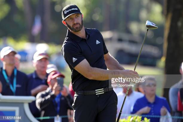 Dustin Johnson watches his tee shot on the 14th hole during the second round of the Valspar Championship on March 22 at Westin Innisbrook-Copperhead...