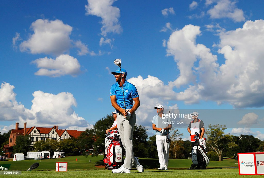 Dustin Johnson watches his tee shot on the 16th hole during the second round of the TOUR Championship at East Lake Golf Club on September 23, 2016 in Atlanta, Georgia.