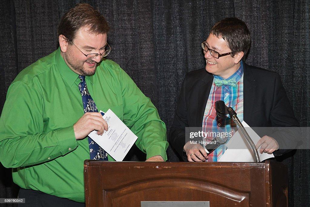 Dustin Kaspar and Beth Barrett speak during the SIFF Golden Space Needle Award Ceremony on June 12, 2016 in Seattle, Washington.