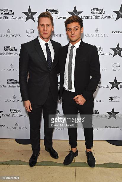 Dustin Lance Black and Tom Daley arrive at The London Evening Standard British Film Awards at Claridge's Hotel on December 8 2016 in London England