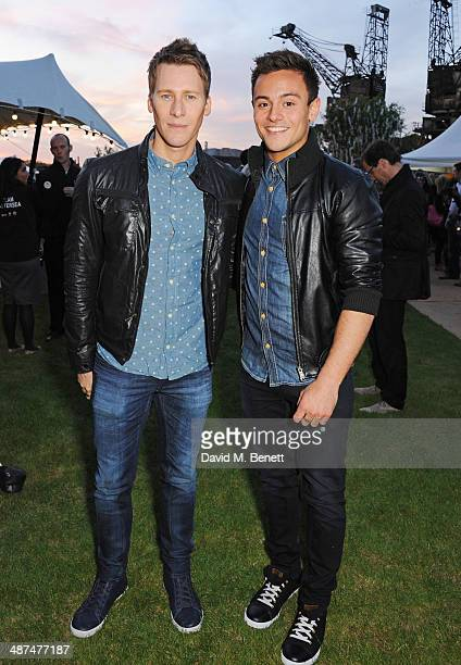 Dustin Lance Black and Tom Daley attend the Battersea Power Station Annual Party on April 30 2014 in London England